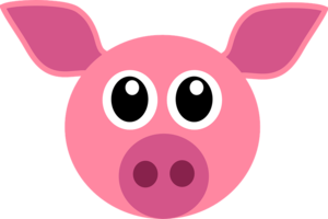 Funny pink cute pig head face animal mammal 161381