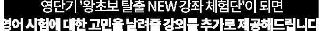 영단기 '왕초보 탈출 NEW 강좌 체험단'이 되면 영어 시험에 대한 고민을 날려줄 강의를 추가로 제공해드립니다!