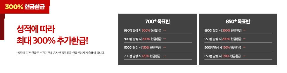 300% 현금환급 - 성적에 따라 최대 300% 추가환급!