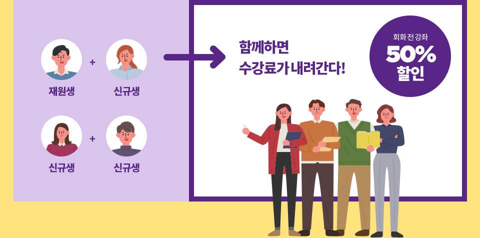 한국인 강사의 체계적인 수업, 원어민 강사의 발음 교정, 확실한 실력 향상