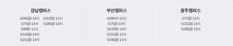 강남/신촌/부산/대구/광주 캠퍼스