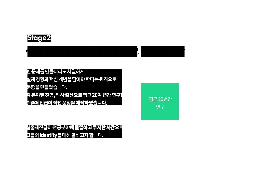 2 stages : 정교한 문항 설계, 실출제진급의 문항 제작
