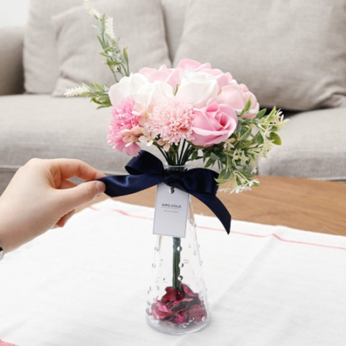 트라이앵글 시들지않는 10송이 비누꽃 화병세트