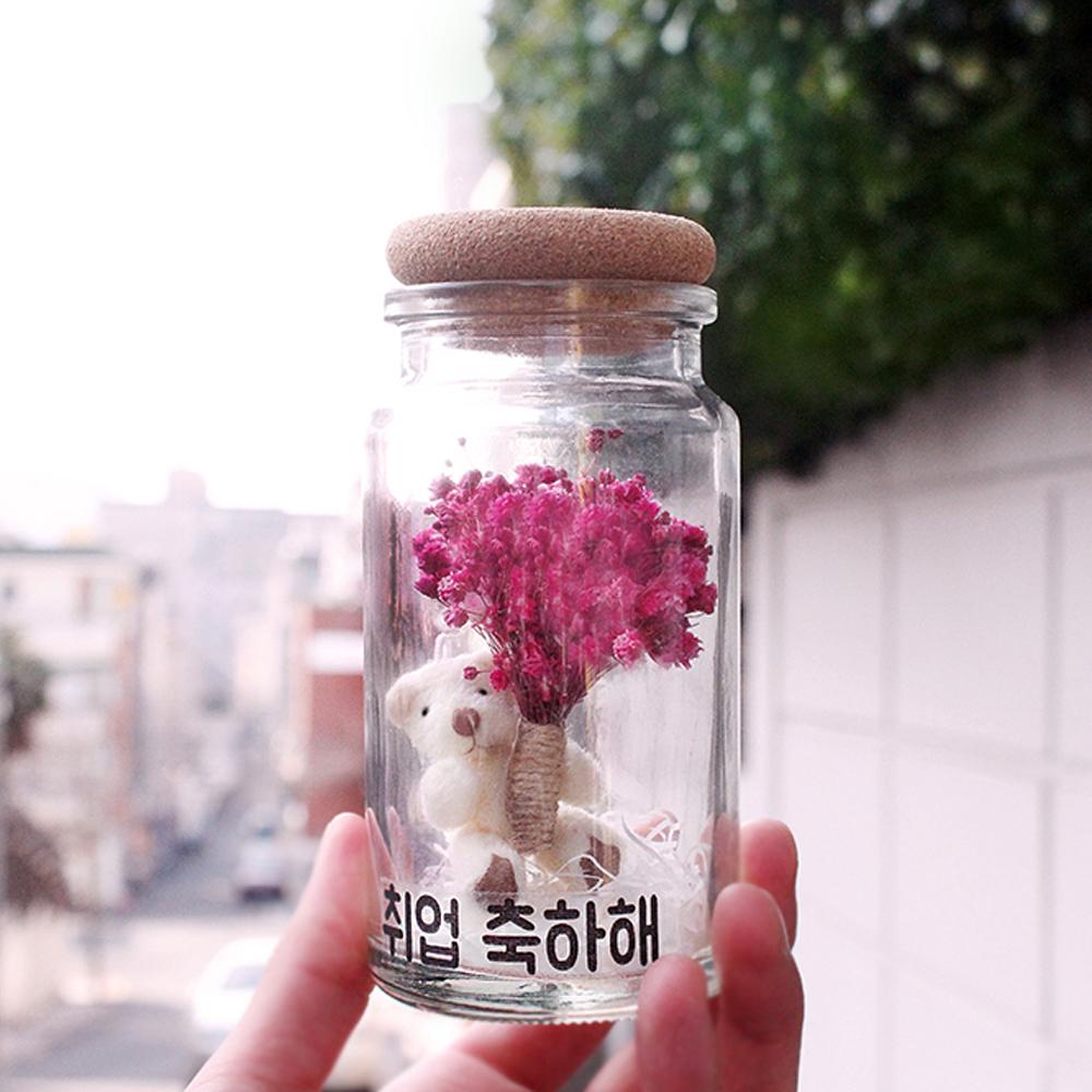 곰인형 프리저브드 안개꽃 화병