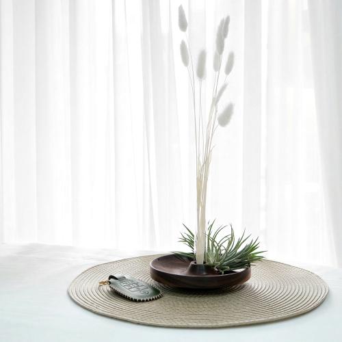 원목 꽃병 접시