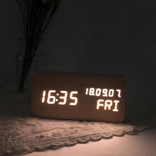 LED 무소음 우드 블럭 탁상시계