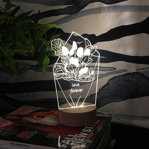 튤립 꽃다발 아크릴 LED무드등 LED간접조명