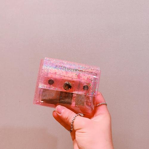 땡땡이 홀로그램 핑크 투명파우치