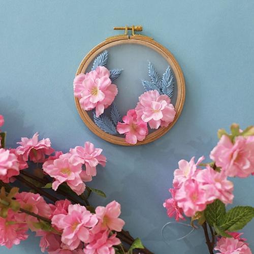 사계절 꽃자수 홈데코 소품 만들기 - 봄 벚꽃 투명자수액자 프랑스자수 DIY KIT