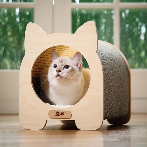고양이를 닮은 묘한 원목 숨숨집