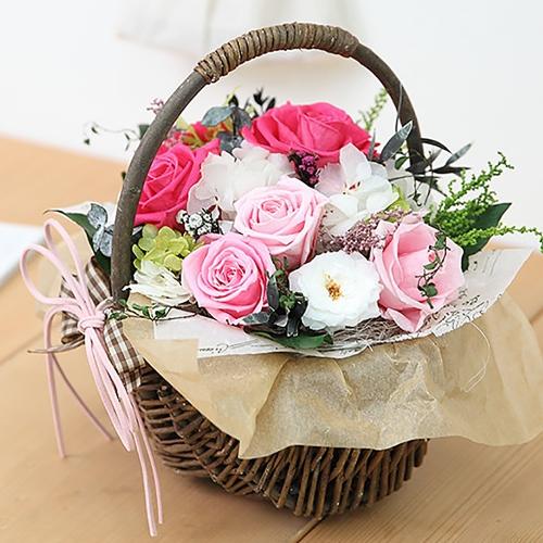프리저브드플라워 핑크 장미 꽃바구니