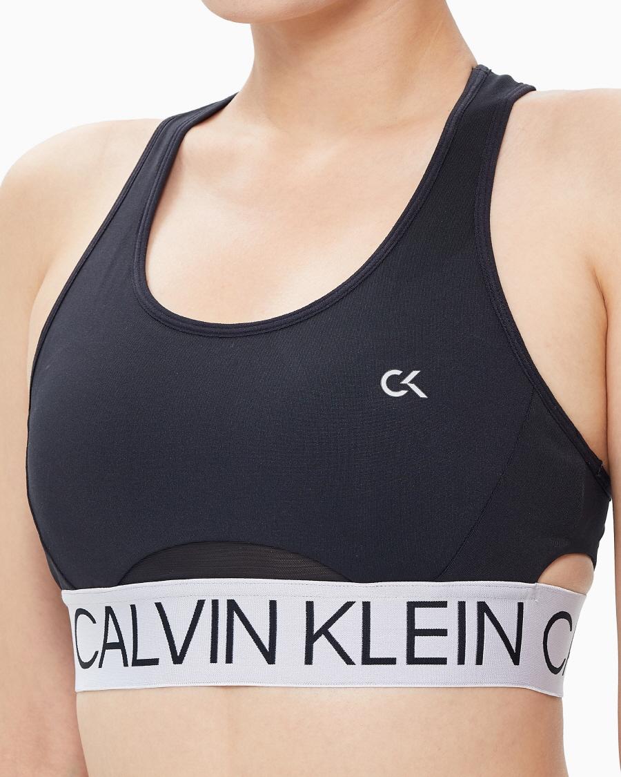 캘빈클라인 퍼포먼스(CALVIN KLEIN PERFORMANCE) 여성 액티브 아이콘 실버 웨이스트밴드 사이드 컷 아웃 브라_4WF0K148007