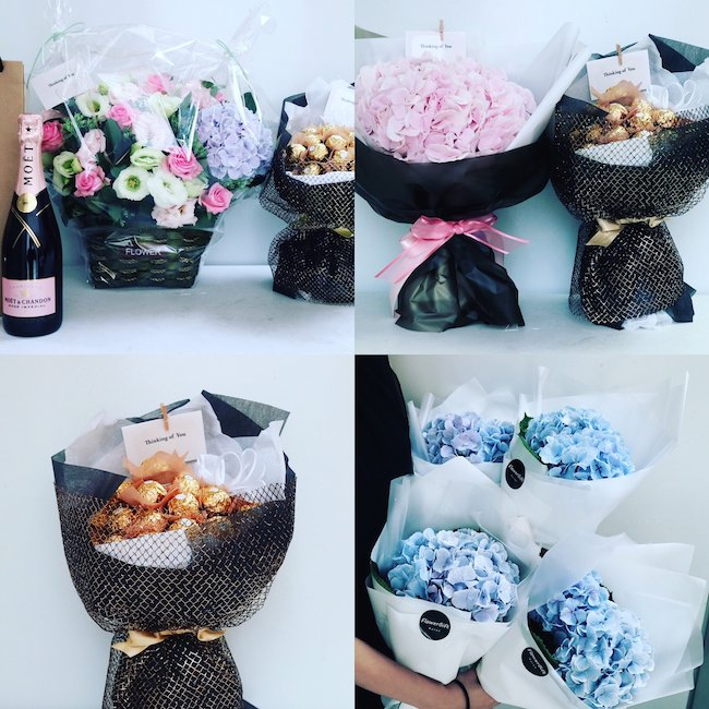 Champagne, Chocolate Bouquet, Hydrangea Bouquets, Flower Basket