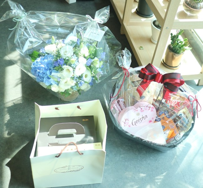 Flower Basket, Cake, and Custom Snack Basket