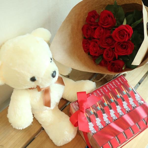Teddy Bear, Roses, Pepero Gift