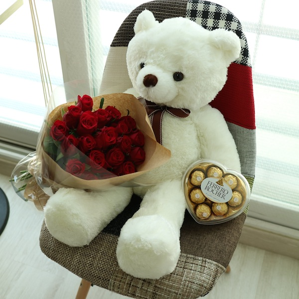 Teddy Bear, Roses, and Chocolate