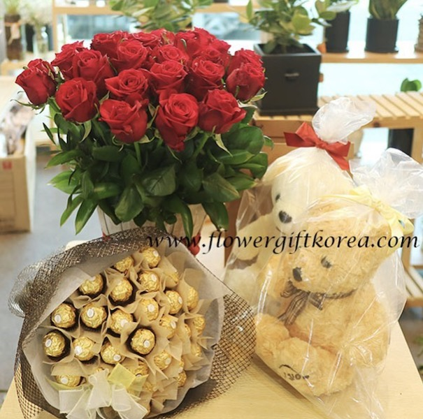 Rose Basket and Teddy Bear and Chocolate Delivery to Seoul South Korea