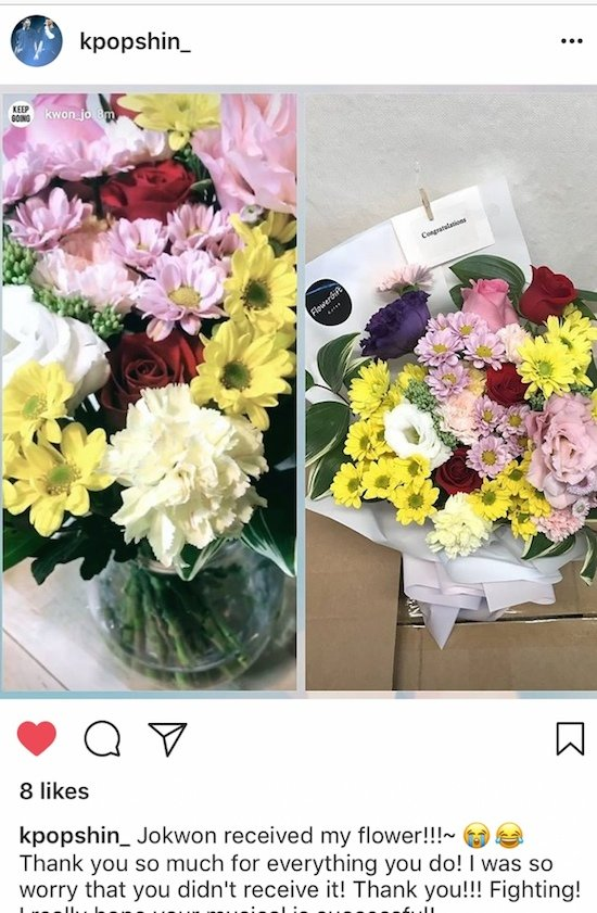Instagram Fan Post of Jokwon Flower Delivery Korea