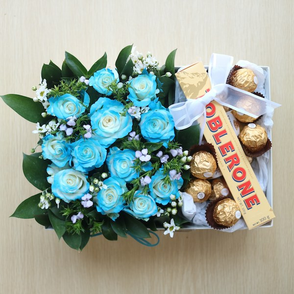 Blue Roses Proposal Flower Box Korea