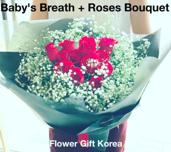 Roses and Babys Breath Seoul Korea
