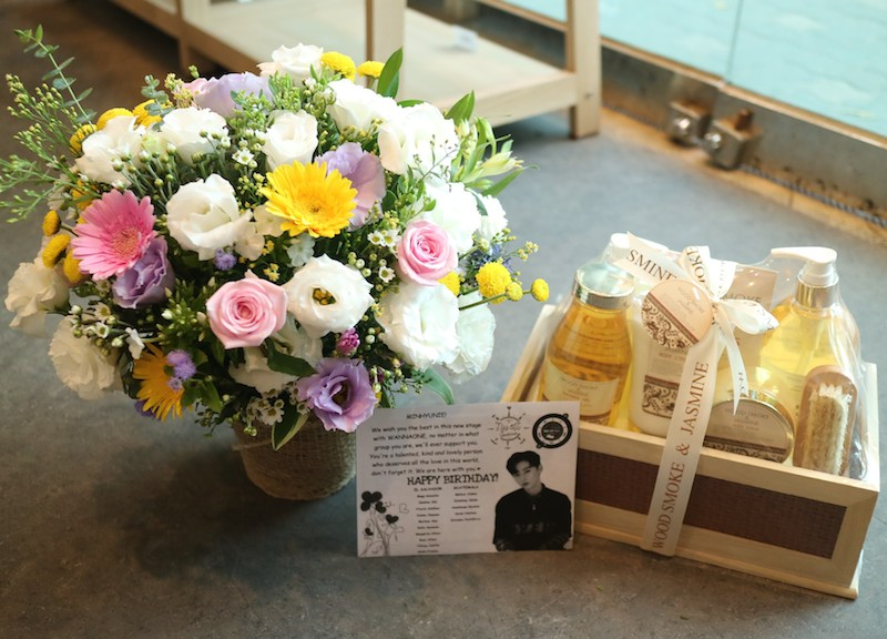 Flower Basket Of The Day And Bath Gift Set For Celebrity In Korea