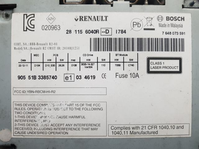 지파츠 자동차 중고부품 281156040R AV시스템,오디오