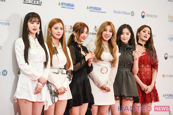 (G)I-DLE having a photo time during the Red Carpet event of 'The 25th 2019 Dream Concert' held in Seoul Sangam World Cup Stadium on May 18th. (Photo Credit=Hanteo News)