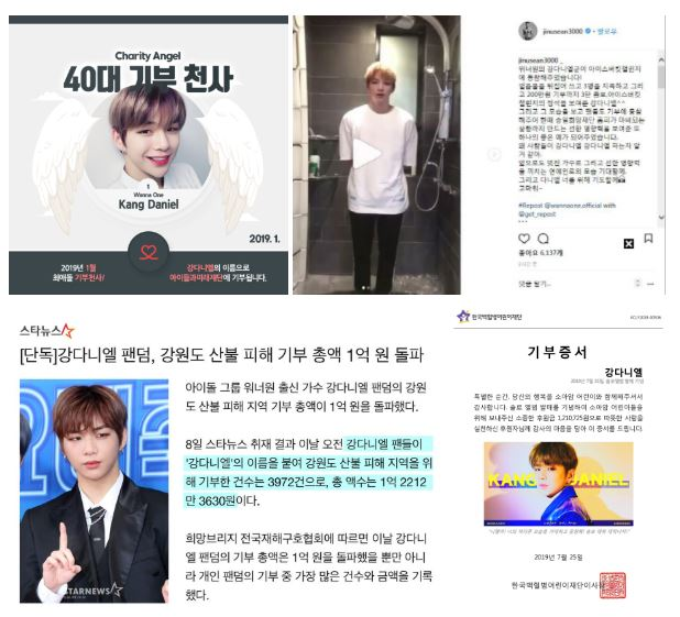 """Donation relay"" of Kang Daniel and his fans"