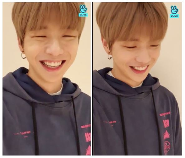 V LIVE broadcast in which Kang Daniel's official fandom name has been announced (Photo=screen capture of V LIVE broadcast)