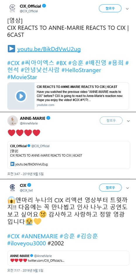 Screen capture of CIX's official social account and Anne-Marie's personal social account