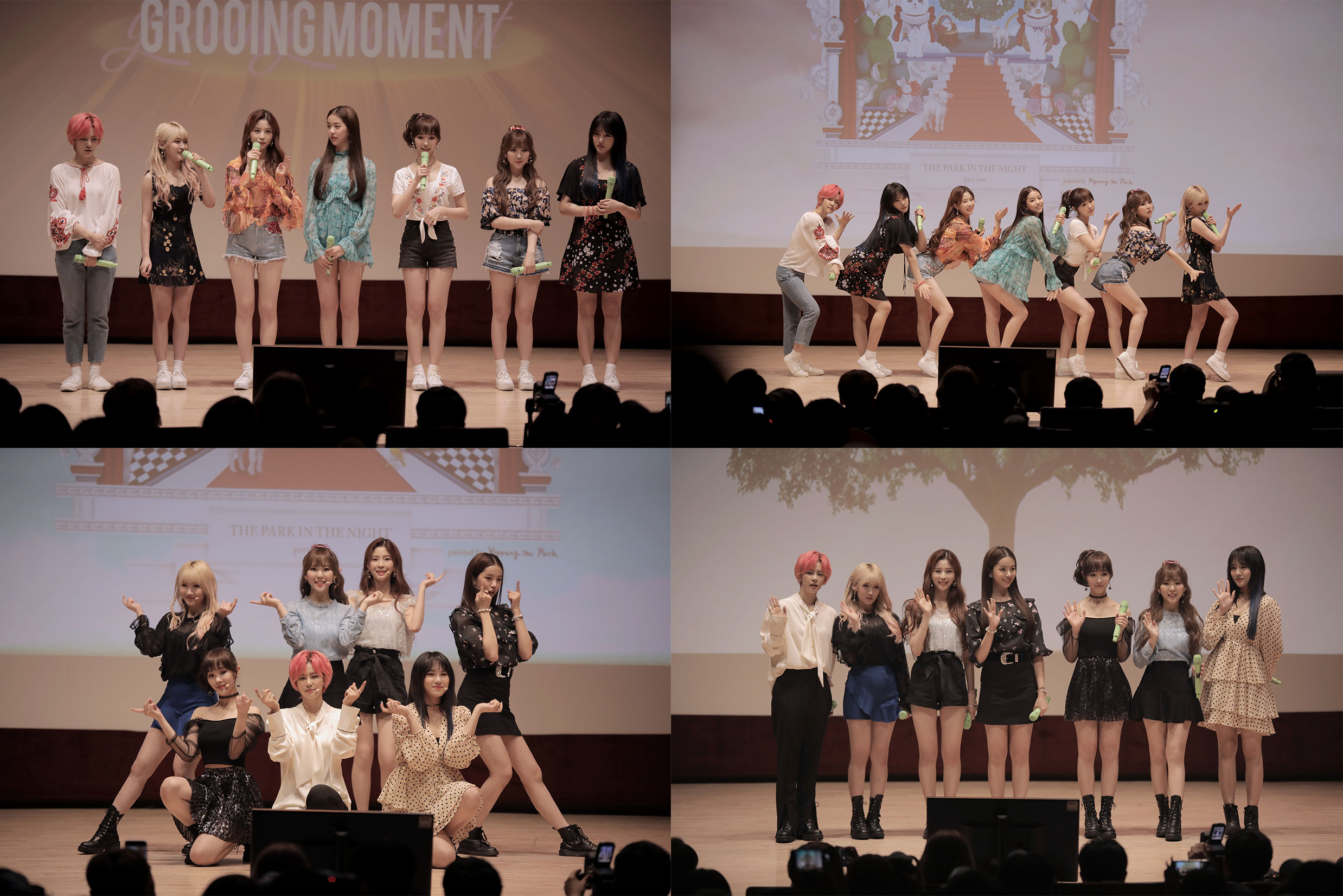 "A photo from GWSN's 1-year debut anniversary fan meeting, ""OUR 1ST GROOING MOMENT"" held on September 8th (Photo Credit=Kiwi Media Group)"