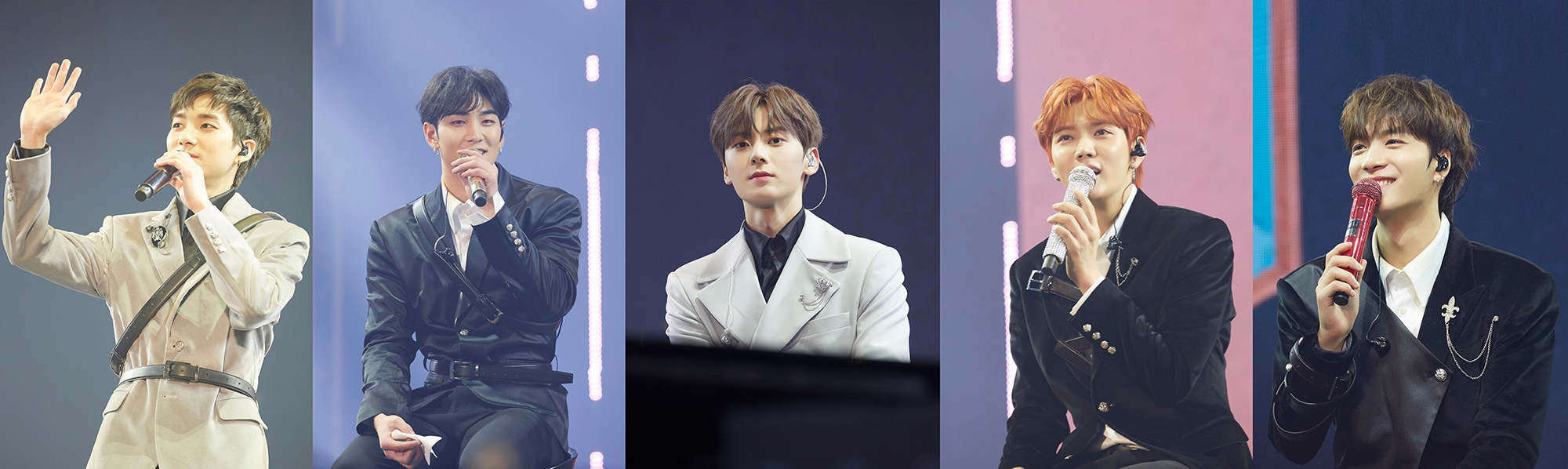 NU'EST members had a great time with the fans during the fan meeting, 'L.O.Λ.E PAGE' on the 16th. Aron, Baekho, Minhyun, Ren, and JR, from the left. (Photo Credit=Pledis Entertainment)