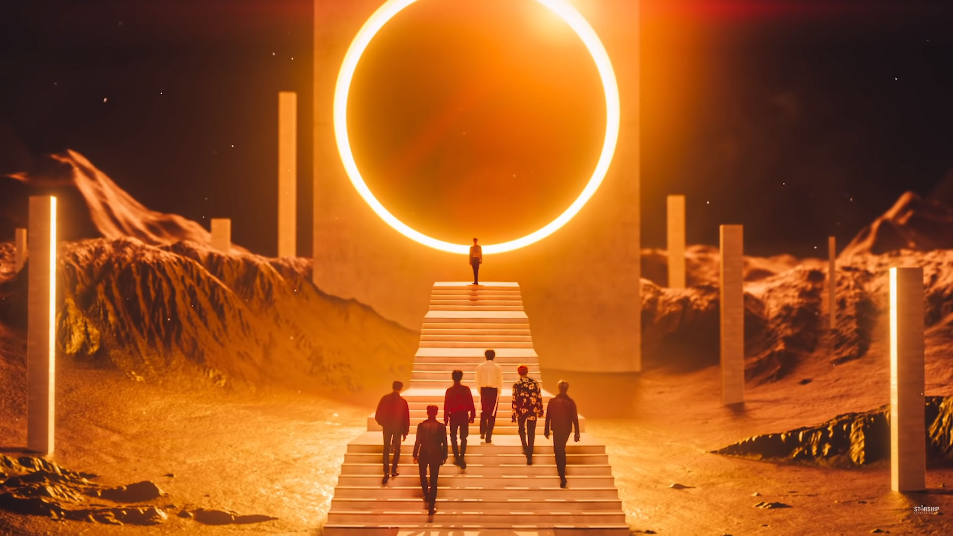 Group MONSTA X, who topped Hanteo Chart's Monthly Global Authentication Chart of November (Photo=Screen capture of MONSTA X's 'Follow' official music video)
