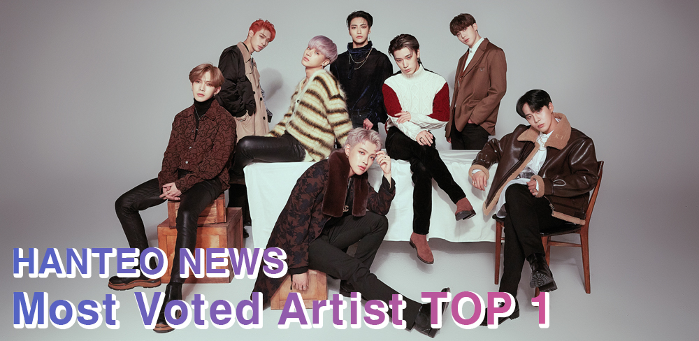 Group ATEEZ is named as Hanteo News Artist who received the most votes (Photo Credit=KQ Entertainment)