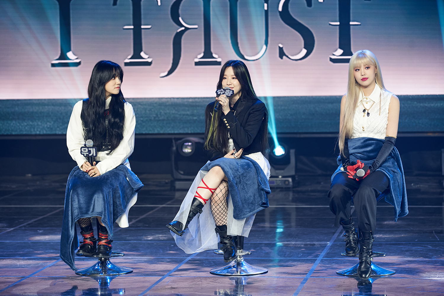 Group (G)I-DLE replying to the questions during the media showcase (Photo Credit=Cube Entertainment)