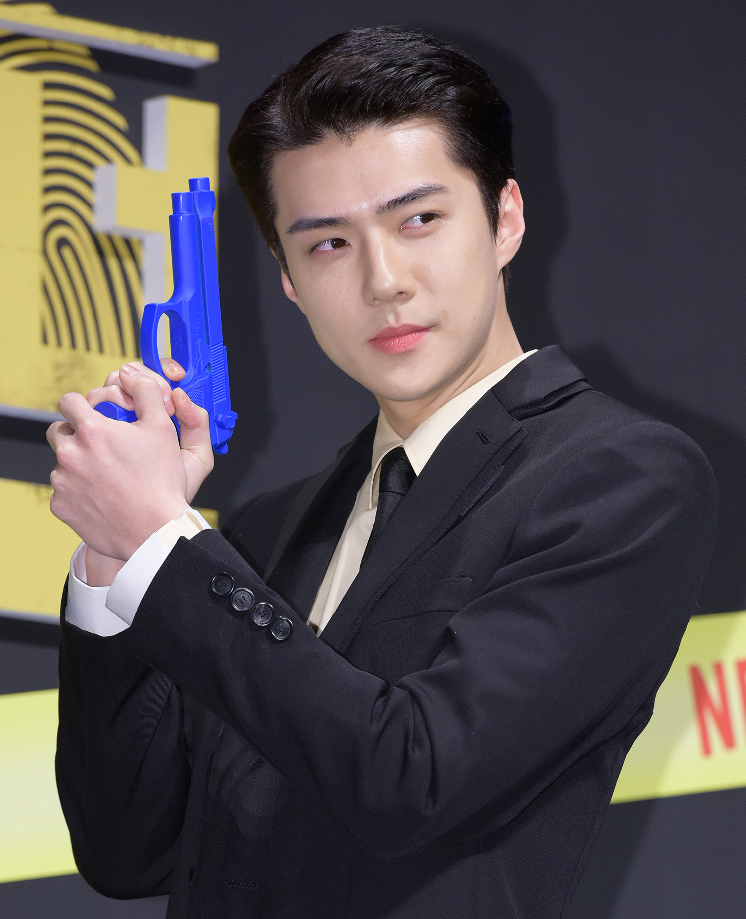 Sehun of EXO having a photo time during the production conference of Netflix - Busted!, held at CGV Apgujeong in Sinsa-dong, Gangnam-gu, Seoul, on November 8th, 2019 (Photo Credit=Getty Image Korea)
