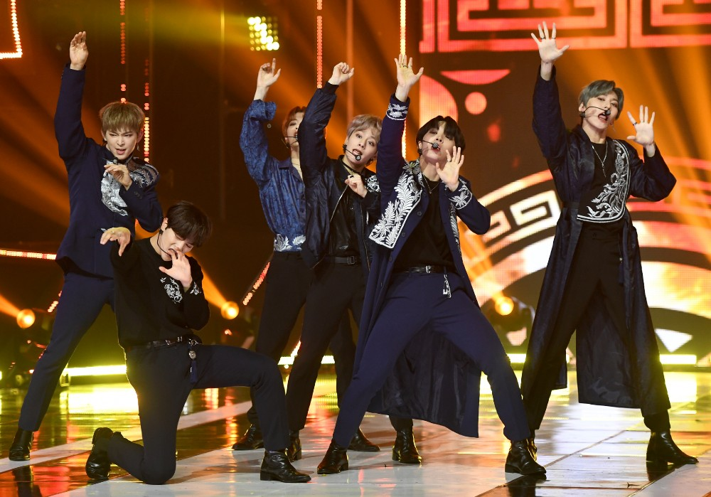 ONEUS Hwanwoong performing on stage during the live broadcast of MBC Music Show Champion held at MBC Dream Center in Illsandong-gu, Goyang-si, Gyeonggi-do, on October 9th, 2019 (Photo Credit=Getty Image Korea)