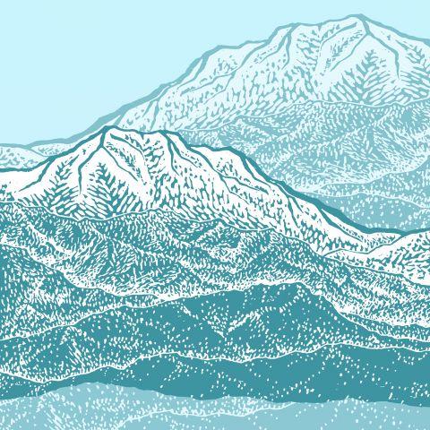 Distant Snow- 遠雪 : linocut