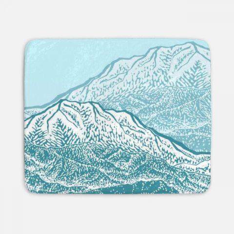 Distant Snow- 遠雪 : linocut 담요
