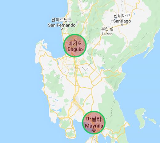 바기오,마닐라의 위치를 나타낸 지도