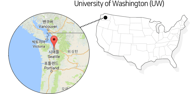 University of Washington(UW)의 위치를 나타낸 지도