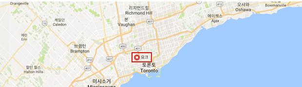 요크의 위치를 표시한 지도