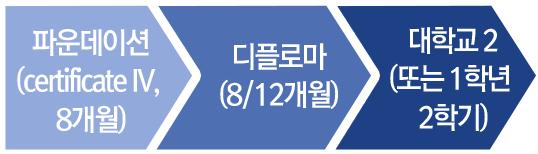 파운데이션 (certificate IV, 8개월), 디플로마 (8/12개월), 대학교 2 (또는 1학년 2학기)