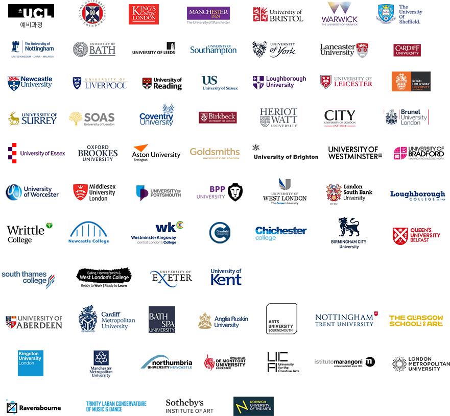 ed:m 유학센터와 파트너쉽을 맺은 대학 로고들