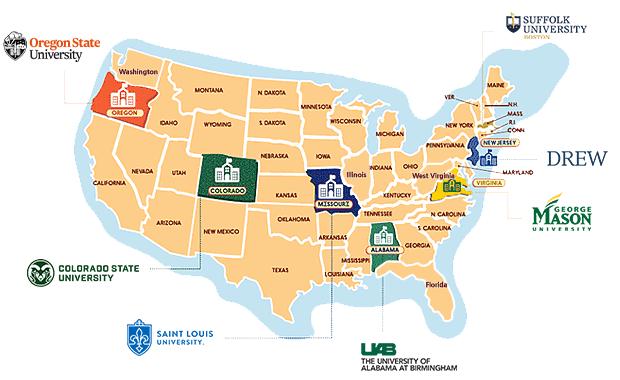 편입이 가능한 미국 주립대학교와 사립대학교를 나타낸 지도