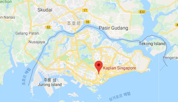 Kaplan 싱가포르 사립대학 위치를 나타낸 지도