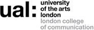 ual london college of communication 로고