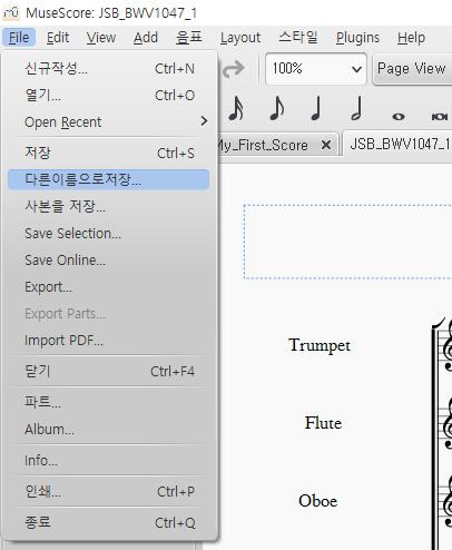 """File > 다른이름으로저장..."" 메뉴 선택"