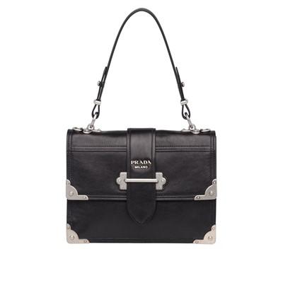 e8f91e278e19 공식홈페이지제품 프라다 핸드백 가죽 Prada Cahier printed leather handbag BLACK ASTRAL BLUE  1 1BA158 PEO F0WC3 V OCH