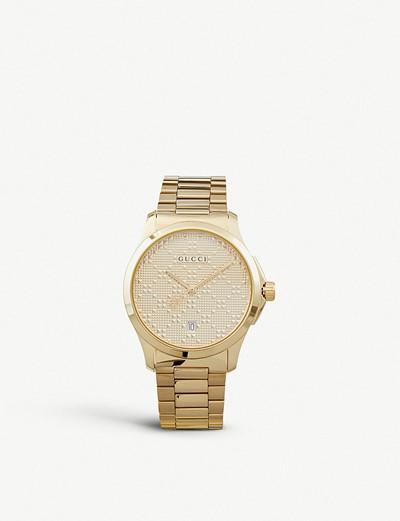 df89814e4bc 공식셀렉트샵제품 구찌 시계 스틸 YA126461 G Timeless gold-plated stainless steel watch  4896903 Gold